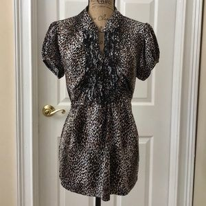 Ruffle animal print blouse